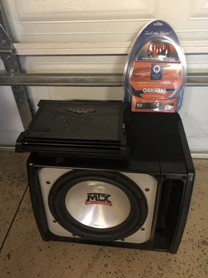 MTX 12 inch 7500 sub w kicker amp and wires ESPANOL/English for Sale in Chicago, IL