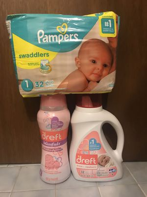 Brand new Baby bundle of Pampers diapers size 1 and Dreft detergent and blissfuls for Sale in Concord, CA