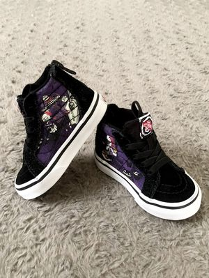 Disney Vans Hi-top paid $48 size 4.5 like new! Special edition Color black with design sturdy canvas & suede, signature waffle rubber sole. for Sale in Washington, DC