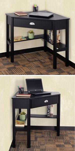 New in box black wooden space saving corner computer laptop desk table with drawer 30x30x30 inches for Sale in Pico Rivera, CA