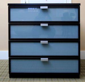 Ikea 4 Drawer Glass Panel Dresser Chest Clothes Storage Organizer Wardrobe Stand Unit TV Entertainment Media Console for Sale in Monterey Park, CA