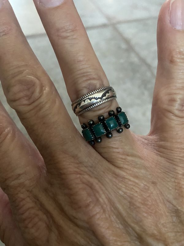 Native American Sterling Turquoise Ring & Sterling Band Size 7