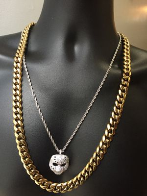 Cyber Monday Sale!! 14KT Gold Filled Cuban Chain and a matching Bracelet. All sizes available!! Best Top Quality!! We do custom work!! for Sale in Fairmont City, IL