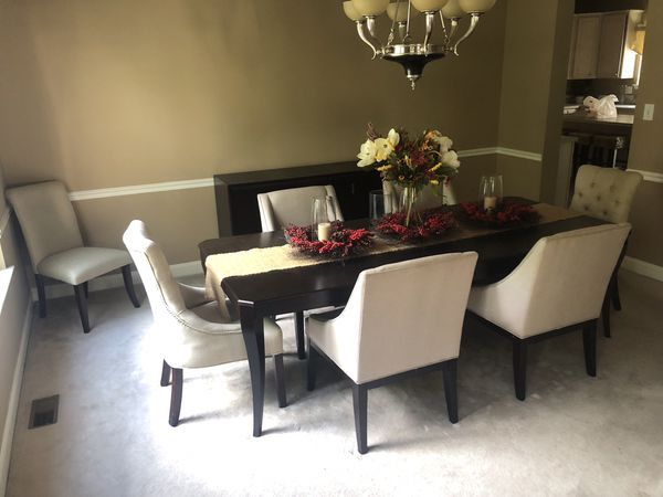Macy's Dining Room 6 Piece Table & Chairs Set (Buffet Sold