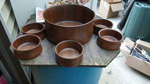 vintage walnut salad bowl set for Sale in Chicago, IL
