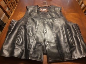 men's 4xl first leather gear motorcycle vest for Sale in Pflugerville, TX