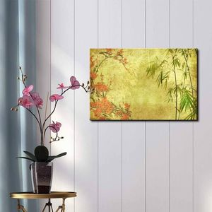 ((Free Shipping)) Japanese Garden Plants Over a Gold Textured Background - Canvas Art Home Decor Painting like print for Sale in Campbell, CA