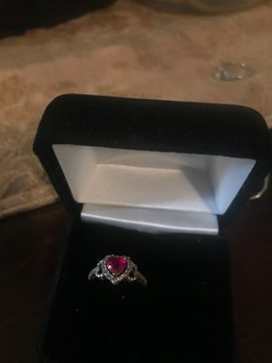 Sterling silver diamond/ruby heart ring size 7 for Sale in Salinas, CA
