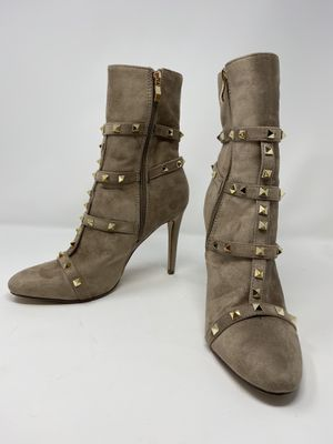 "NUDE SUEDE GOLD STUDDED MID-CALF BOOTS 4"" for Sale in Los Angeles, CA"
