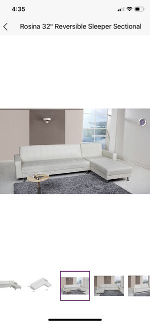 White Leather Rosina Reversible Sleeper Sectional for Sale in Longview, WA