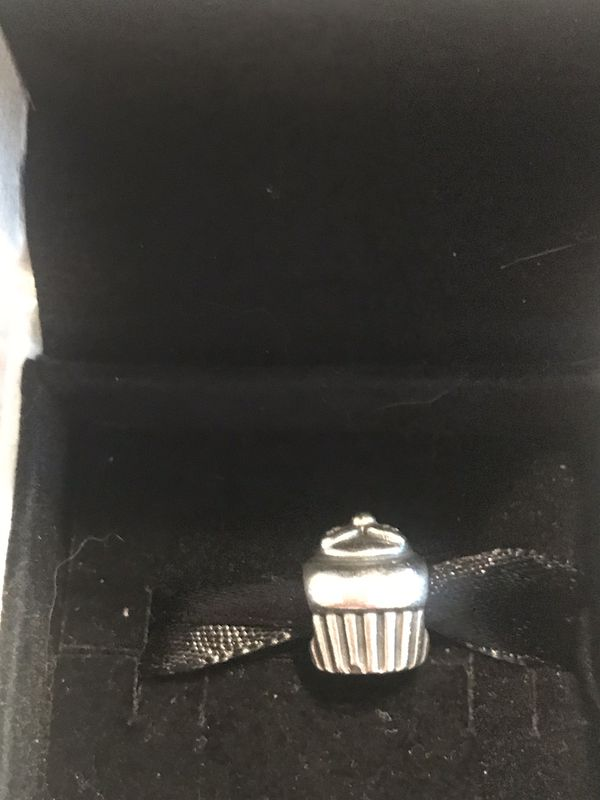 Authentic Retired Pandora 14 Kt Gold and Sterling Silver Cupcake Charm