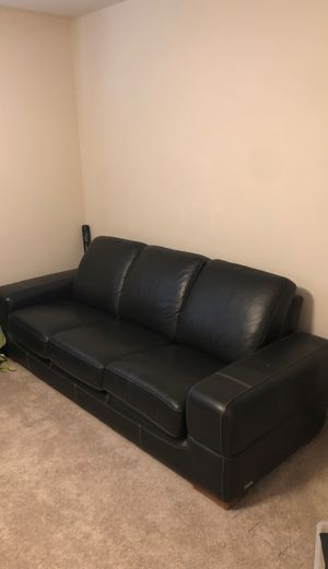 Awesome black leather couch with white cross stitch for Sale in Poway, CA