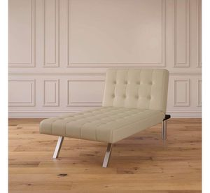 Vanilla Faux Leather Lounge Chaise Futon, Chrome Legs ONE AVAILABLE!< for Sale in Houston, TX