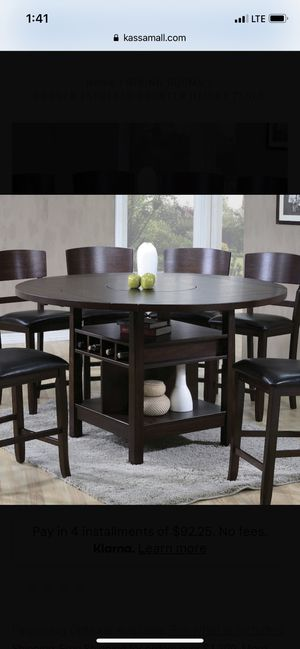 Conner Espresso Counter Height Table w/ Lazy Susan, 4 chairs for Sale in Clovis, CA