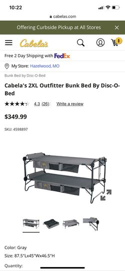 Cabella 2XL Outfitter Bunk Bed for Sale in St. Peters,  MO