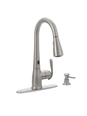 MOEN Haysfield Single-Handle Pulldown Sprayer Touchless Kitchen Faucet w/MotionSense and Power Clean in Spot Resist Stainless for Sale in Atlanta, GA