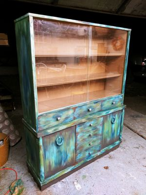 Boho China Cabinet / Kitchen Hutch / Bookcase with storage! Sliding glass doors! 2 doors, 3 drawers! Solid wood. Delivery available if needed! for Sale in Joliet, IL