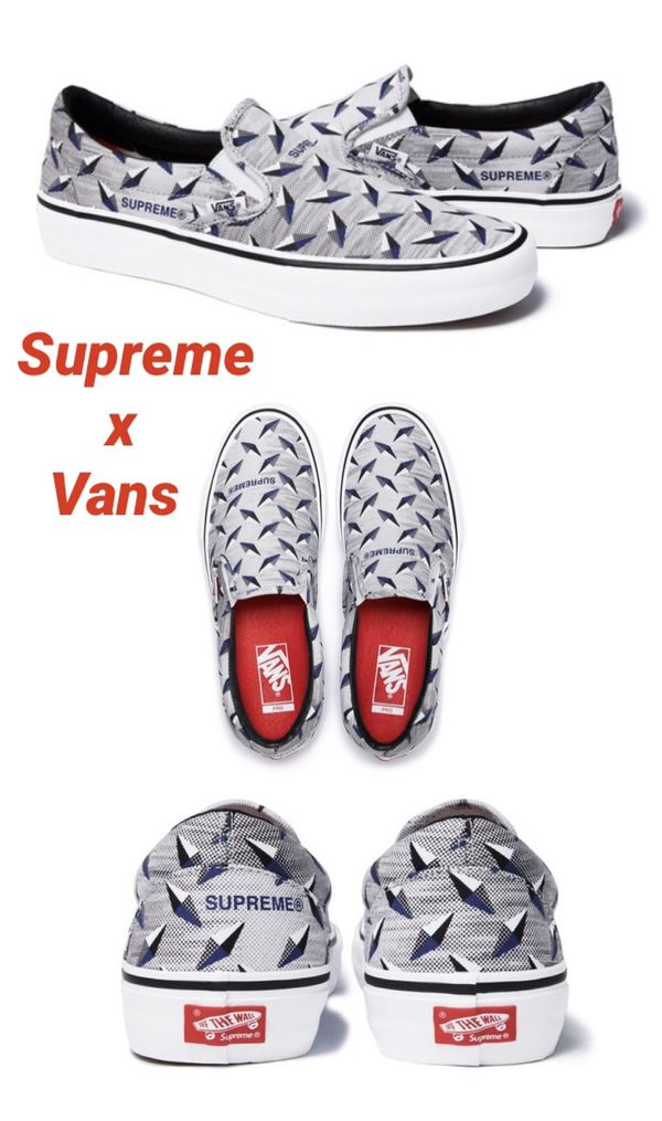 Supreme x Vans Diamond Plate Slip-On White Size 11.5