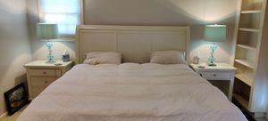 Aspenhome Bedroom Set, mattress, and Pier1 Aqua Lamps for Sale in Los Gatos, CA