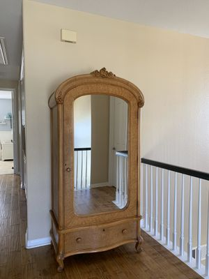 Antique Birdseye Maple Mirrored Armoire for Sale in Carlsbad, CA