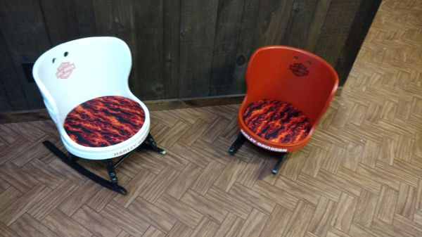 Antique child's barrel chair Harley themed orange