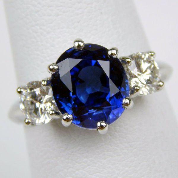platinum corundum sapphire diamond ring #10228