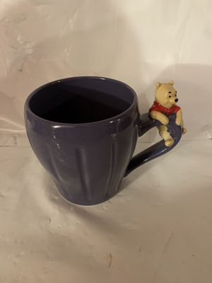 Disney Store Pooh Figurine Mug Purple With Pooh On Handle for Sale in Colchester, CT