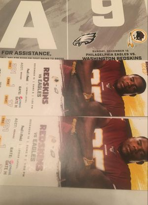 2 Redskins Ticket and 1 Premium Parking Ticket for Sale in Silver Spring, MD