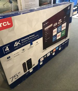 "75"" TcL roku smart 4K led uhd hdr tv for Sale in Perris, CA"