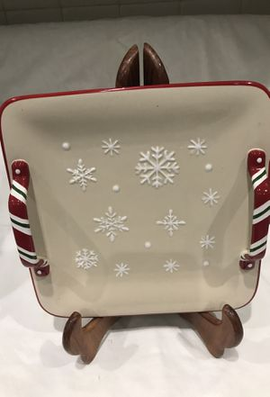 Longaberger snowflake cookie platter with handles Christmas for Sale in Lilburn, GA