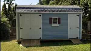 New 8' x 18' Blue Vinyl Gambrel Shed with Blue Shutters for Sale in Rehoboth, MA