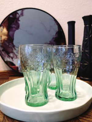 Four clear with green tinge short Coca Cola glasses for Sale in Saint Paul, MN