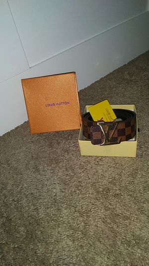 Brown leather checkered belt with gold buckle for Sale in Baltimore, MD