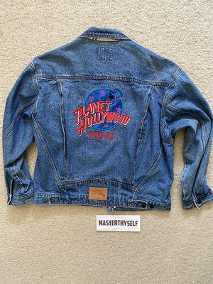 1991 Vintage Men's Planet Hollywood Embroidered Jean Denim Jacket sz L for Sale in Temecula, CA