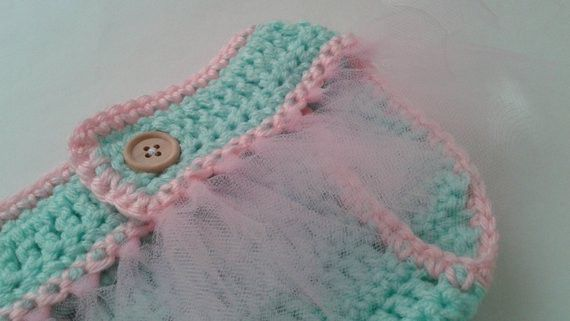 Ballerina Princess Tutu Newborn Baby Photography Adjustable Reusable Diaper Cover- Hand Crocheted with Tulle