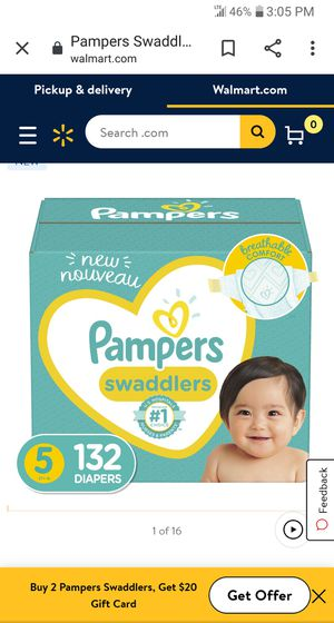 Pampers swaddlers Size 5 132 count ( 2 in stock NW) for Sale in Phoenix, AZ