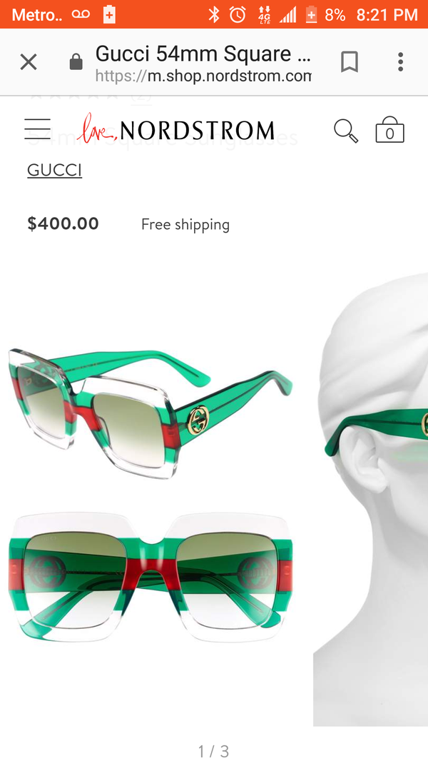 58e714b10b4 Gucci GG0178S Sunglasses Clear Green Red Transparent Size 54-25-145 ...
