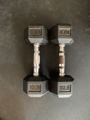 10 lb dumbbells weights - rubber dumbells weight set for Sale in Cypress, TX
