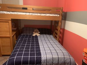 Full and twin size solid wood bunk bed with desk. for Sale in Duquesne, PA