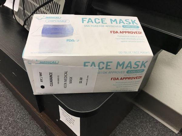 Face Mask open case $2.50 per box