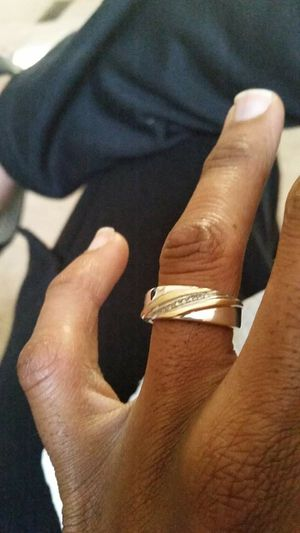 Men Wedding Ring Two Tones White and Yellow Gold 10K with Diamonds Size 7 for Sale in Columbus, OH