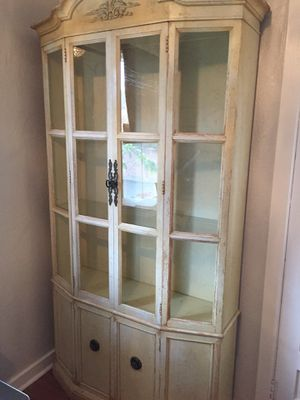 Vintage curio/China cabinet with upper glass doors for Sale in Carpinteria, CA