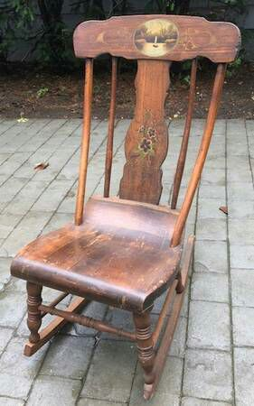 Antique Rocking Chair With Lake Scene Circa 1910 for Sale in New York, NY