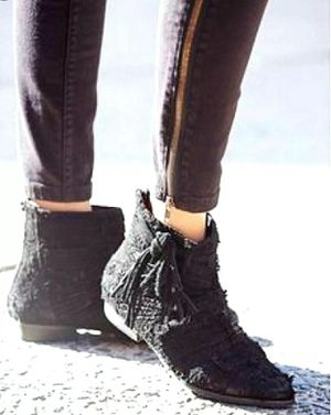 Free People Decades Black Fringe Raw Suede Ankle Booties 40/10 for Sale in Dublin, OH