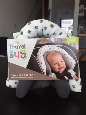 NEW GOLDBUG TRAVEL BUG DUO HEAD SUPPORT, WHITE/GREY for Sale in Lomita, CA