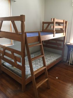 Brandt Ranch Oak Bunk Twin Beds MCM with Ladder & Safety Rail for Sale in Pittsburgh,  PA