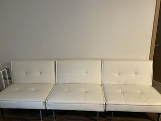 Faux leather white futon couch for Sale in Tacoma,  WA