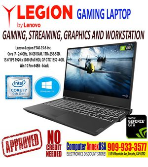 Lenovo Legion Gaming Laptop- 15.6'', i7 16GB, 1TB+256-SSD, GTX1650 | No Credit Needed Quick/Easy Approval for Sale in Ontario, CA