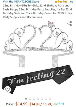 22nd birthday sash and tiara #136 for Sale in Phoenix, AZ