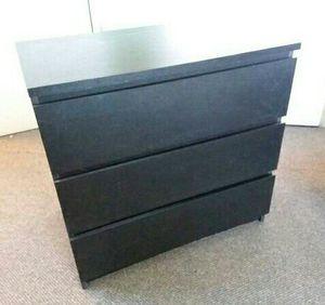 Ikea Black 3 Drawer Dresser Chest Clothes Storage Organizer Wardrobe Stand Unit TV Media entertainment Console for Sale in Montebello, CA